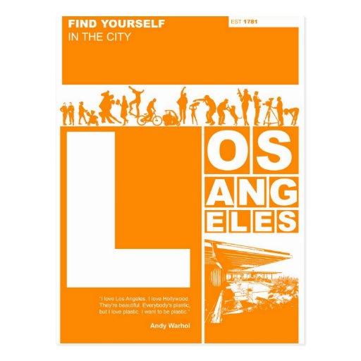 Los Angeles Poster in Orange color Postcard