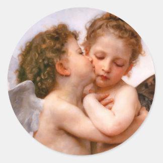 Los ángeles primero se besan, Bouguereau Pegatinas Redondas