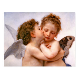 Los ángeles primero se besan Bouguereau Postal