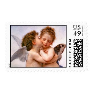 Los ángeles primero se besan, Bouguereau Timbre Postal