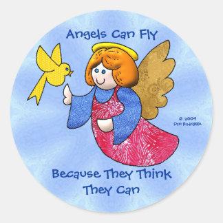 Los ángeles pueden volar pegatina redonda