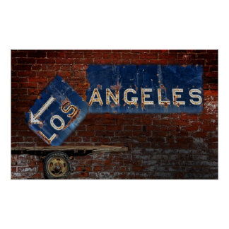 Los Angeles roadway sign Posters