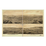 Los Angeles Santa Monica Antique Panoramic Map Poster