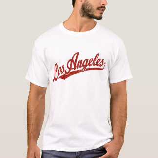Los Angeles script logo in red distressed T-Shirt