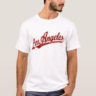 Los Angeles script logo in red T-Shirt