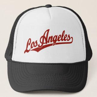 Los Angeles script logo in red Trucker Hat