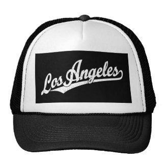 Los Angeles script logo in white distressed Trucker Hat
