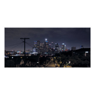 Los Angeles Skyline at Night 2 Poster