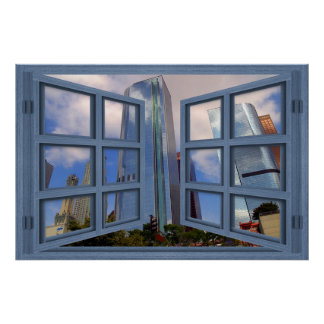 Los Angeles Skyline Blue 6 Pane Open Window Poster