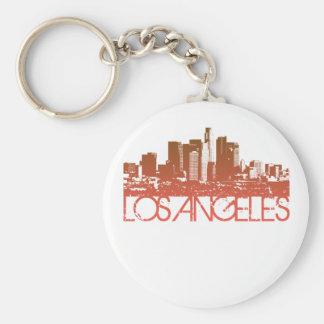 Los Angeles Skyline Design Basic Round Button Keychain
