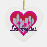 Los Angeles Skyline Heart Ornaments
