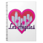 Los Angeles Skyline Heart Spiral Note Books