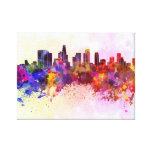 Los Angeles skyline in watercolor background Gallery Wrap Canvas
