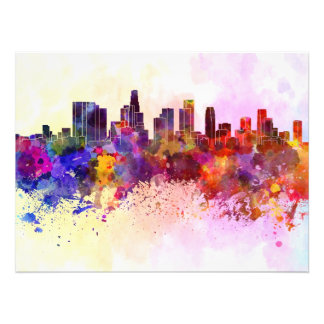 Los Angeles skyline in watercolor background Photo Print