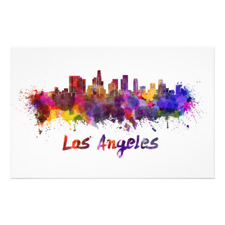 Los Angeles skyline in watercolor Stationery Paper