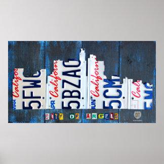 Los Angeles Skyline License Plate Art Poster