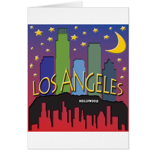 Los Angeles Skyline nighlife Card