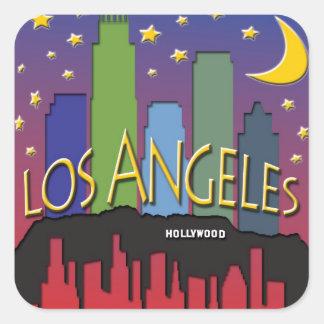 Los Angeles Skyline nighlife Square Stickers