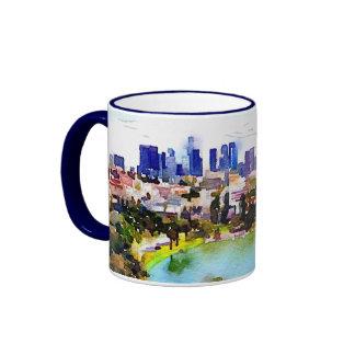 Los Angeles Skyline Watercolor Coffee Mug