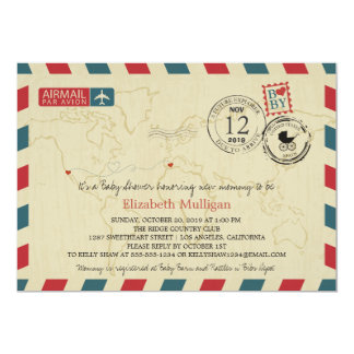 Los Angeles / SPAIN Airmail | Baby Shower 5x7 Paper Invitation Card