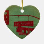 Los Angeles Street Double-Sided Heart Ceramic Christmas Ornament