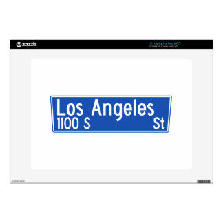 """Los Angeles Street, Los Angeles, CA Street Sign Decals For 15"""" Laptops"""