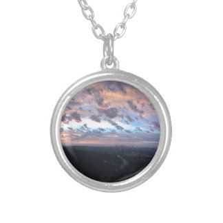 Los Angeles Sunrise off Mulholland Dr Silver Plated Necklace