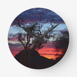 los angeles sunset round wall clock