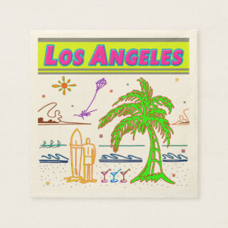 """Los Angeles"" Surfer Beach Napkins Standard Cocktail Napkin"