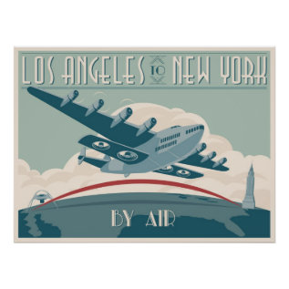 Los Angeles To New York By Air Poster at Zazzle