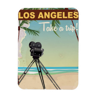 Los angeles vintage camera beach travel poster magnet
