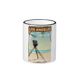 Los angeles vintage camera beach travel poster ringer mug