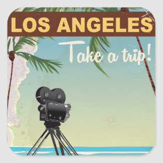 Los angeles vintage camera beach travel poster square sticker