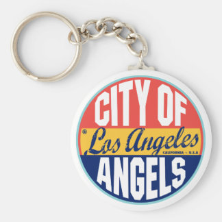 Los Angeles Vintage Label Basic Round Button Keychain