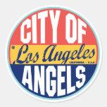 Los Angeles Vintage Label Classic Round Sticker