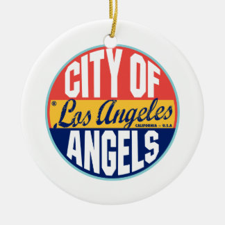 Los Angeles Vintage Label Double-Sided Ceramic Round Christmas Ornament