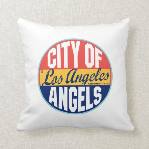 Los Angeles Vintage Label Throw Pillows