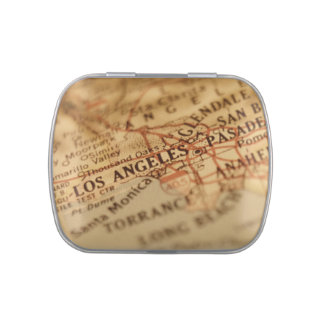 LOS ANGELES Vintage Map Jelly Belly™ Candy Tin