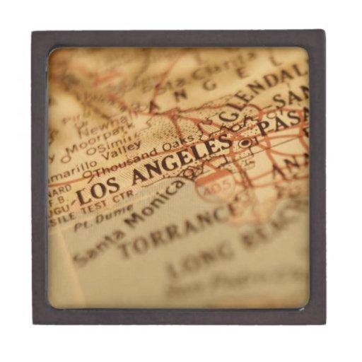 LOS ANGELES Vintage Map Premium Trinket Boxes