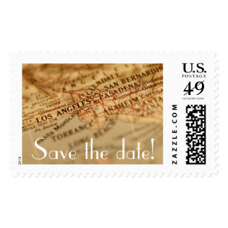 LOS ANGELES Vintage Map Save the Date Postage