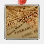LOS ANGELES Vintage Map Square Metal Christmas Ornament