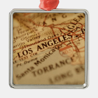 LOS ANGELES Vintage Map Square Metal Christmas Ornament