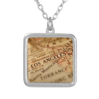 LOS ANGELES Vintage Map Square Pendant Necklace