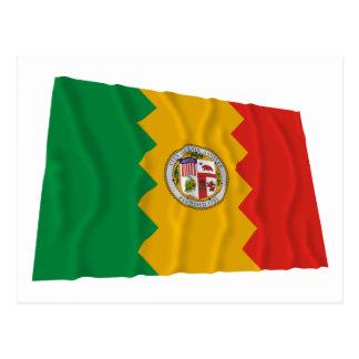 Los Angeles Waving Flag Postcard