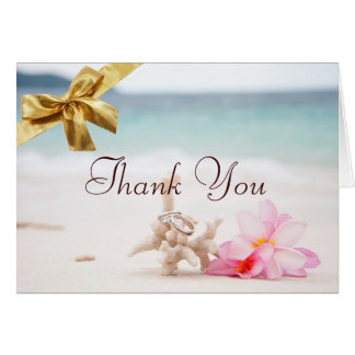 Los anillos de bodas en la playa le agradecen card felicitación