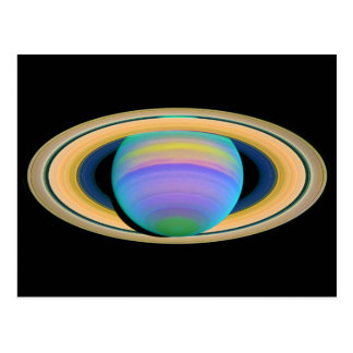 Los anillos de Saturn del planeta como se ve en la Postal