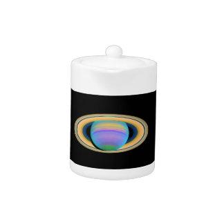 Los anillos de Saturn del planeta en la luz ultrav