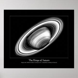 Los anillos del gigante de gas Saturn - imagen de Poster
