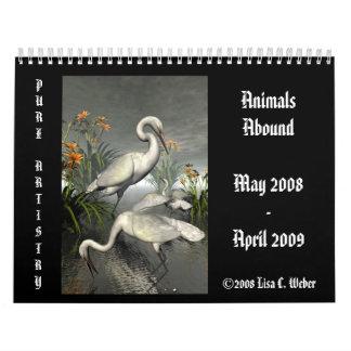 Los animales abundan calendario