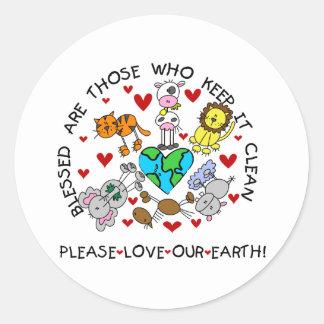 Los animales aman nuestra tierra etiqueta redonda